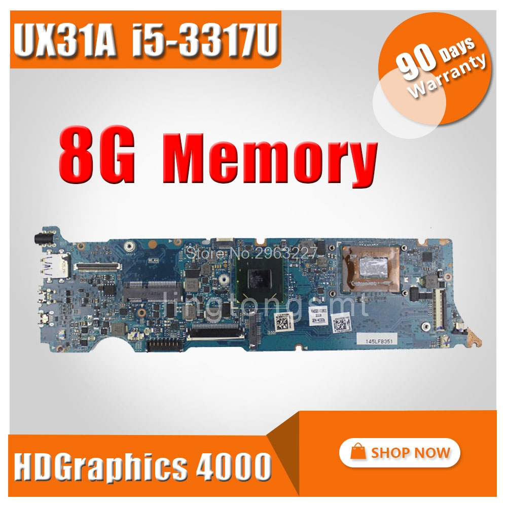 Original for ASUS Touch Screen UX31A Laptop motherboard UX31A2 REV4.1 Mainboard Processor i5-3317 8G Memory ZenBook 100% tested