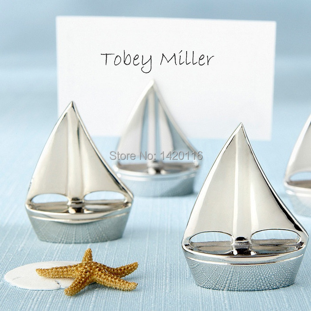 2pieces Sailing Boat Wedding Table Number Place Name Card Stand Memo Holder Favors