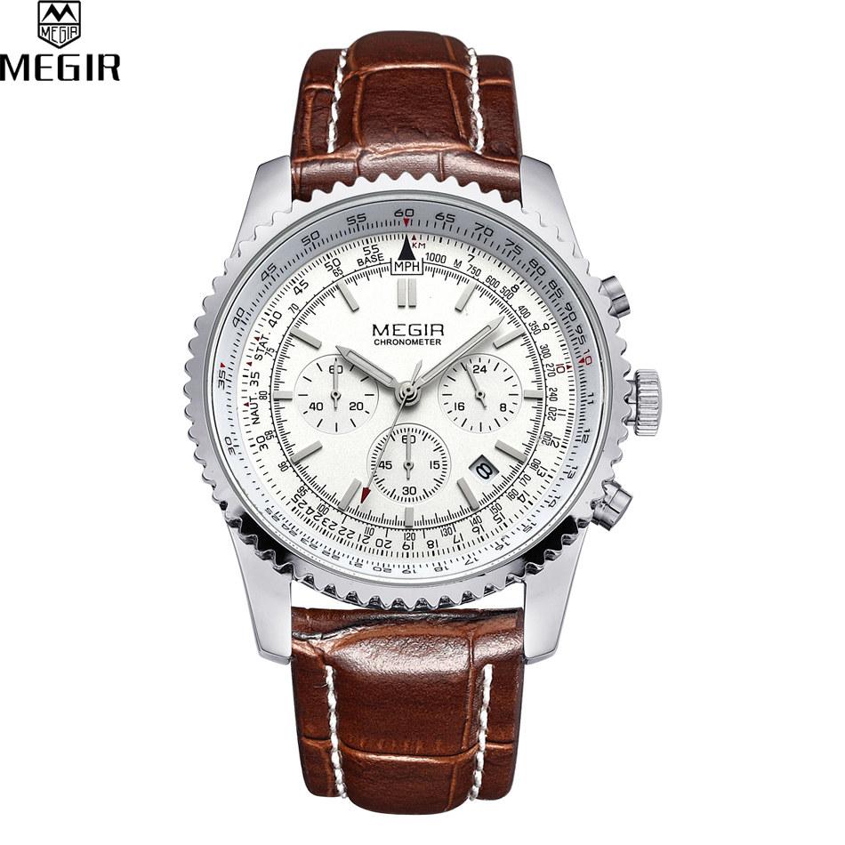 Prix pour 2016 Nouvelle Mode Militaire Élégant MEGIR Marque Conception Armée Calendrier Mâle Horloge Sport En Cuir D'affaires De Luxe Montre-Bracelet relogio