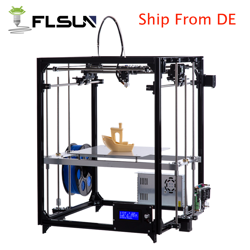 Flsun Cube 3d Printer Metal Frame Large Printing Size Diy 3 D Printer Kit Auto leveling Heated Bed And Two Rolls Filament free dhl shipping 3d printer linear guide diy kit large printing speed 20 180mm s 3d metal printer support auto leveling