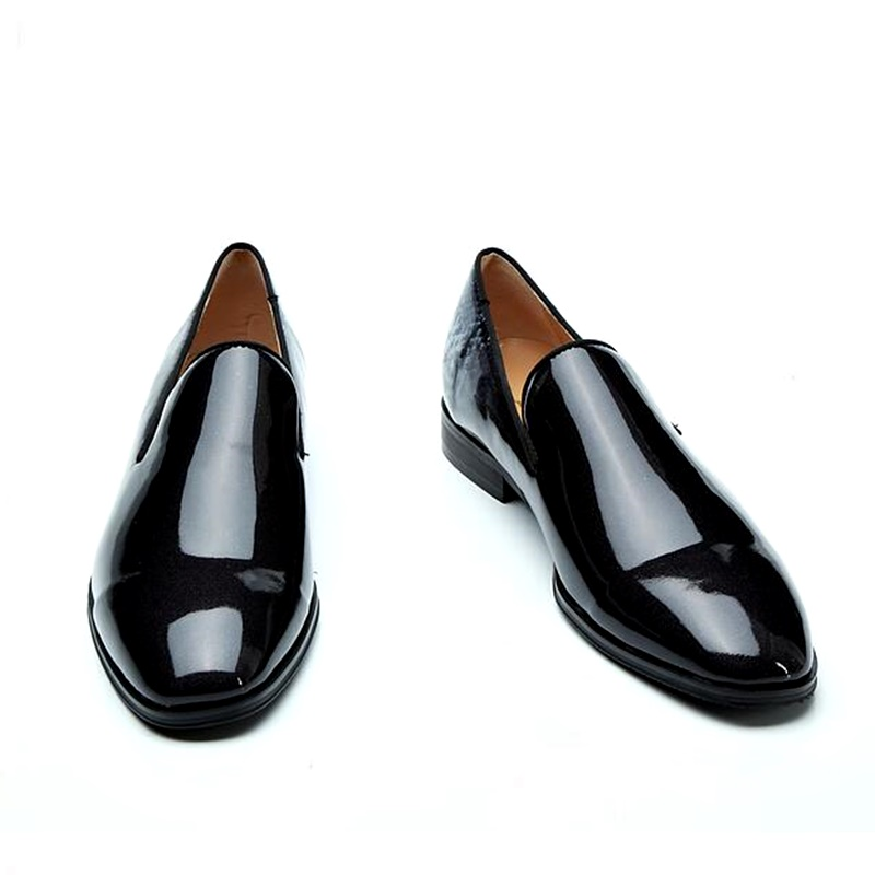 Designer Brand Patent Leather Loafers Handmade Fashion Slip On Shoes Men Casual Loafer Shoes Italian Style Mens Dress Shoes mycolen brand high quality male casual shoes classic silver patent leather shoes breathable fashion slip on loafer shoes men