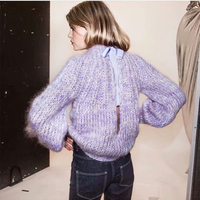 INS popular Gann* style women solid color long sleeve mohair pullover knitted hollow out wool sweater pullover female sale