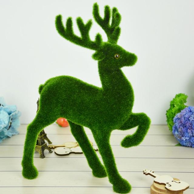 creative artificial grass turf small cute animals christmas reindeer fake deer plastic moss stone decorative home
