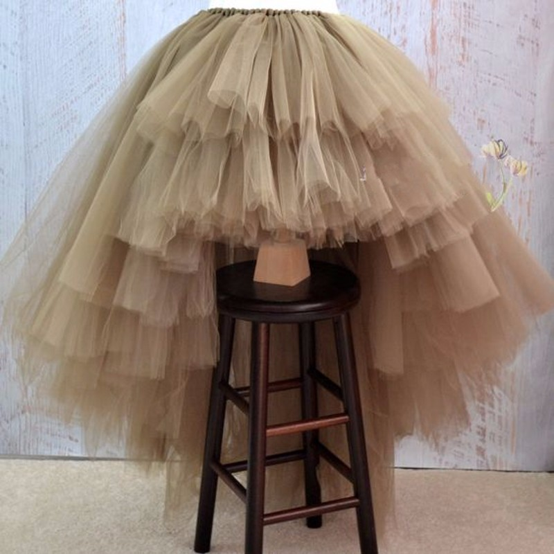 Hot Sale Hi Lo Tulle Skirt Floor Length Tiered Long Prom Dress Khaki Elastic Waist Cheap