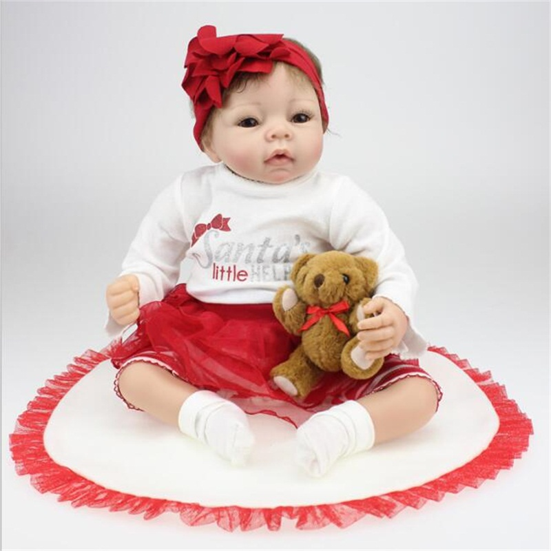 55cm Reborn Doll Children Cute Girls Toys 22 Inch Soft Silicone Baby Dolls with bear Birthday Gift Photography props
