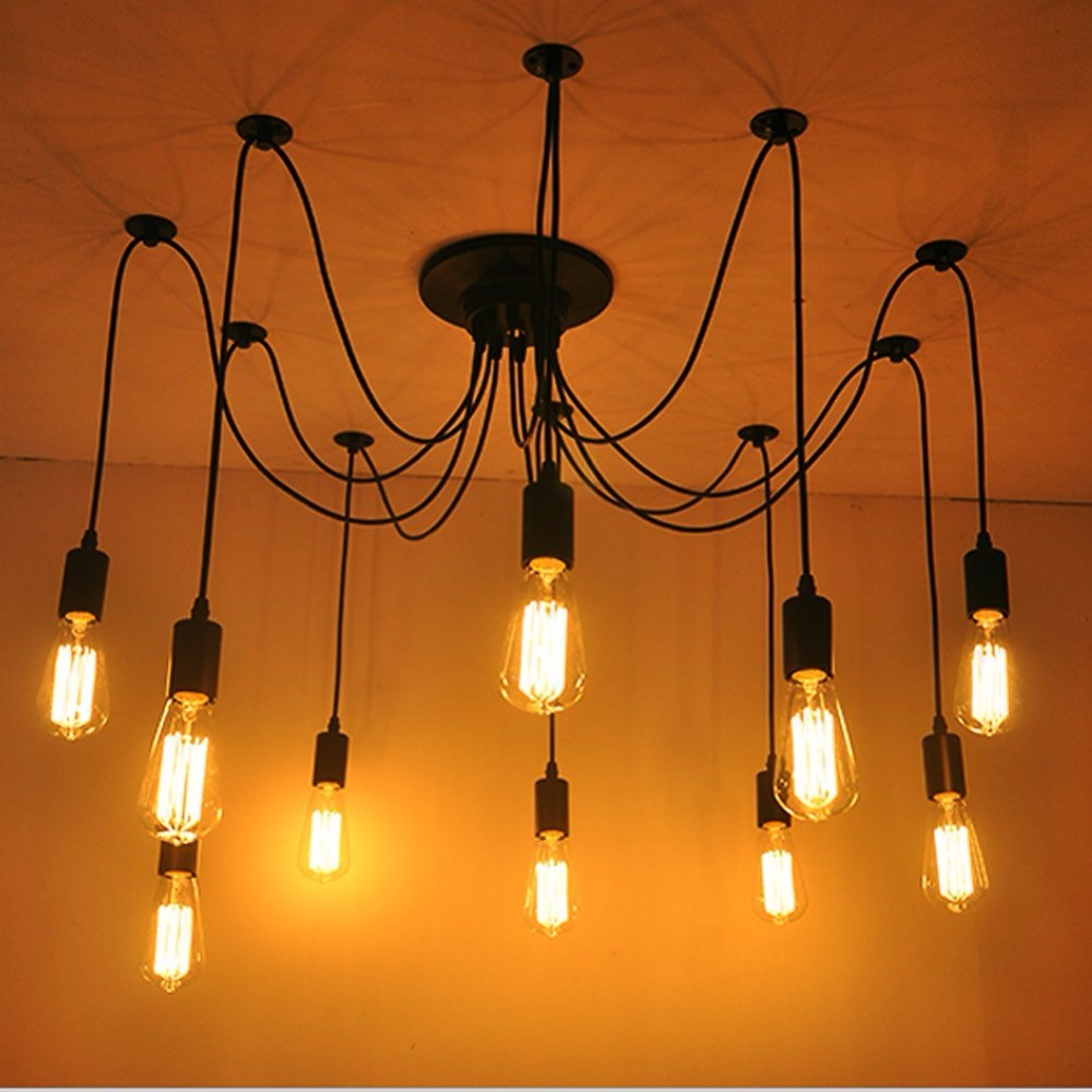 LukLoy Pendant Lights, Vintage Multiple Edison DIY Adjustable Cords Ceiling Spider Light Pendant Lamp Industrial Lighting 8 arms 2017 vintage edison multiple diy ceiling spider lamp light pendant lighting modern chic industrial dining freeshipping