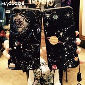 Brillante espacio planeta estrellas funda para iPhone x XR Max de vidrio duro 8 7 funda para iPhone 6 Plus constelación Coque casos