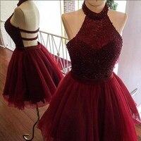 Sexy Halter Short Bridesmaid dresses 2018 Burgundy Beaded bridesmaid dress Robe demoiselle Prom Dress Party Gowns Custom Made
