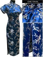 Navy Blue Chinese Female Satin Novelty Costume Socialite Elegant Long Cheongsam Qipao Size S M L
