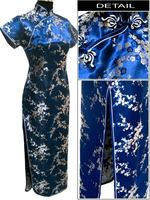 Navy Blue Chinese Female Satin Novelty Costume Socialite Elegant Long Cheongsam Qipao Size S M L