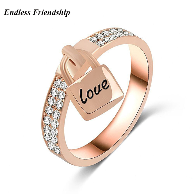 Fashion Woman Love Lock Rings Rose Gold Colors Cubic Zirconia Bague