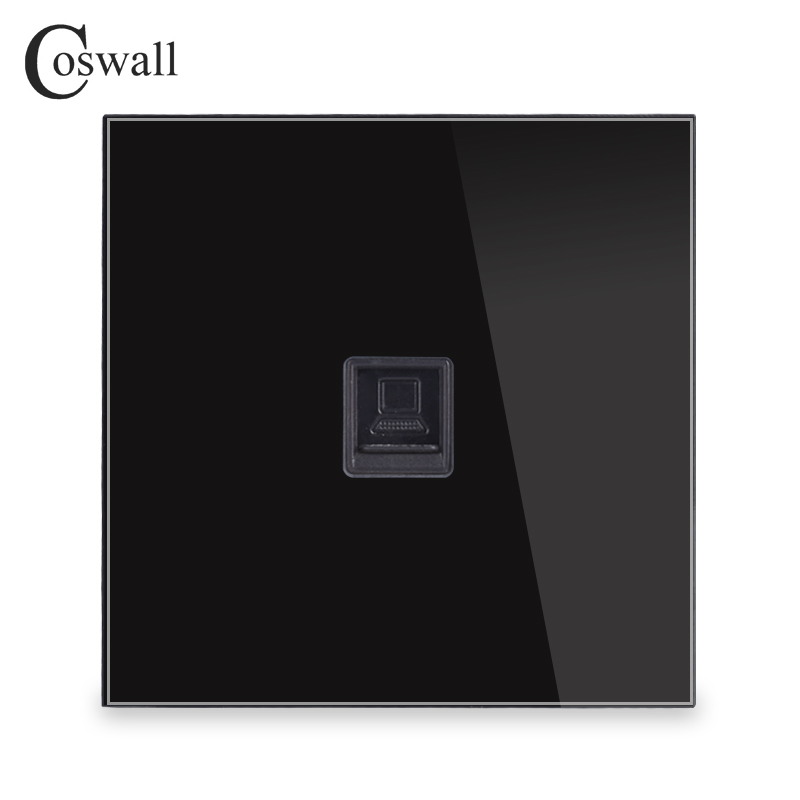 Coswall Crystal Tempered Glass Panel RJ45 CAT5E Internet Jack Wall Data Socket Computer Outlet R11 Series