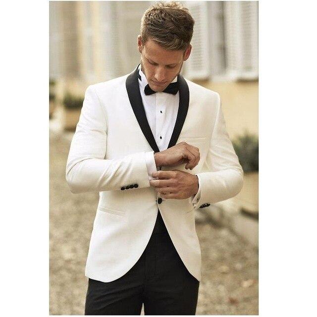 Marque Nouvelle Garçons D honneur Châle Blanc Revers Smokings de Marié Bleu  Marine Hommes Costumes De Mariage Meilleur Homme (Veste + Pantalon +  cravate + ... e0073c0a363