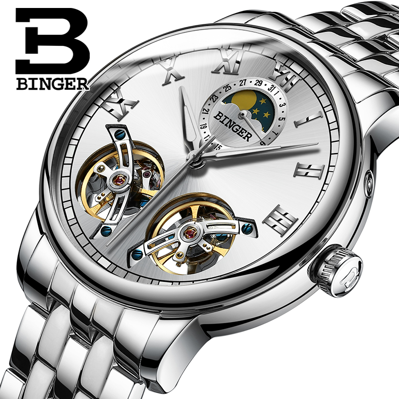 Twin Tourbillon Automatic Watch Luxury Top Brand Clock BINGER Mens Mechanical Watches Full Steel Moon phase relogio masculino relogio masculino tevise luxury brand watch men tourbillon automatic mechanical watches moon phase skeleton wrist watch clock