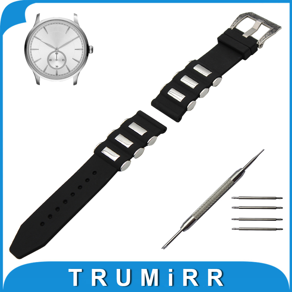 21mm 22mm 23mm 24mm Silicone Rubber Watch Band + Tool for Armani Stainless Carved Pre-v Buckle Strap Wrist Belt Bracelet Black t rrce expert black silicone rubber strap t048 watch band for t048417a 21mm