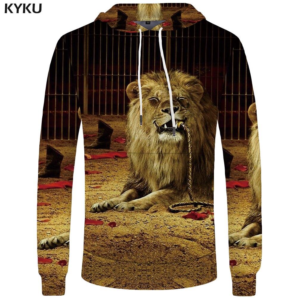KYKU Brand Lion Hoodies Men Circus Mens Clothing Funny Sweatshirts Pocket Animal Hoddie Big Size 3d Hoodies Tracksuit 2018