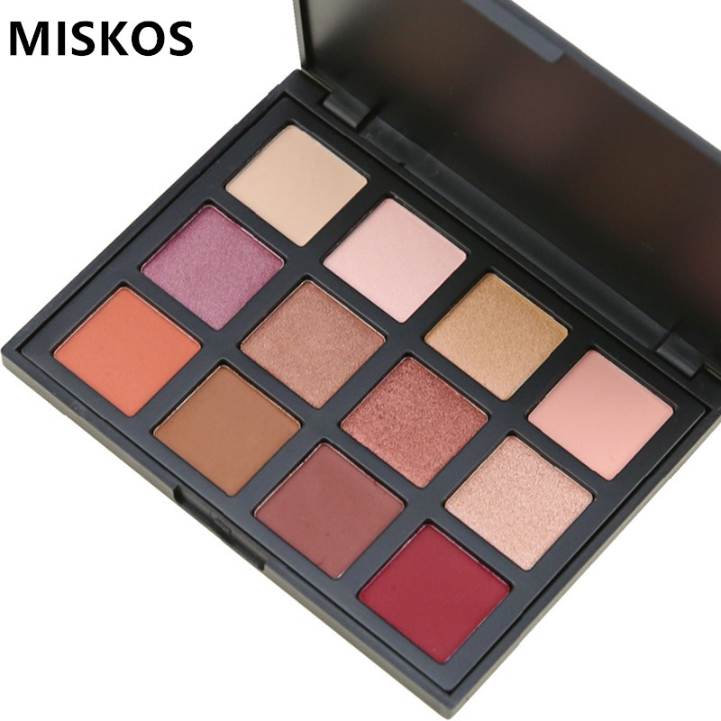 MISKOS Eyeshadow Palette 12 Color Shimmer Nature Glow Eye Shadow Makeup Palette Cosmetics Sombra Waterproof Eyeshadows