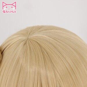 Image 3 - 【Anihut】 perruques de miséricorde rose pour les femmes 40 cm/15.7in Angela Ziegler jeu de cheveux OW rose miséricorde Cosplay perruque cheveux blonds synthétiques