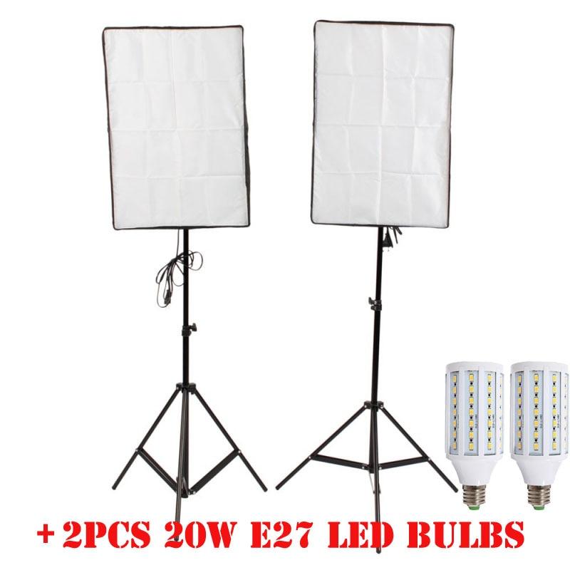 купить 2PCS LED Bulb Photography Lights Flash Kit reflective Material Softbox+ 2M Light Tripod Stand Single Lamp Holder For E27 Bulbs онлайн