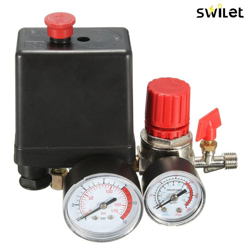 Luft Kompressor Druck Ventil Schalter Verteiler Relief Regler Gauges 7,25-125 PSI 240 v 15A Beliebte