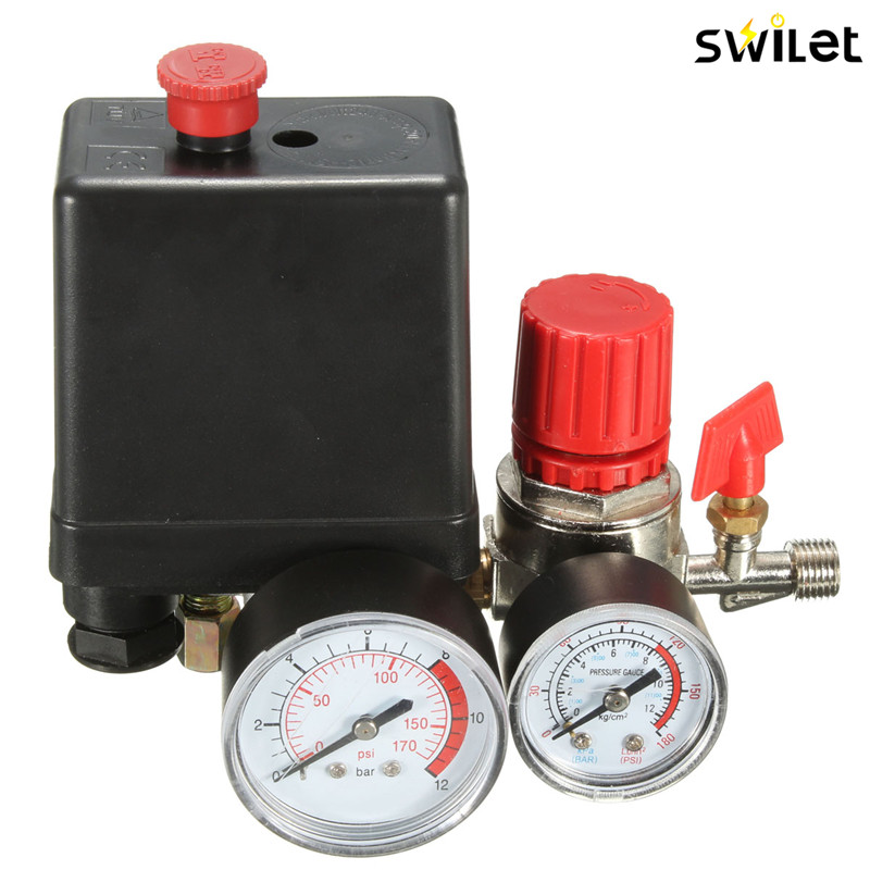 Presión del compresor de aire válvula Manifold Relief regulador Gauges 7,25-125 PSI 240 V 15A populares