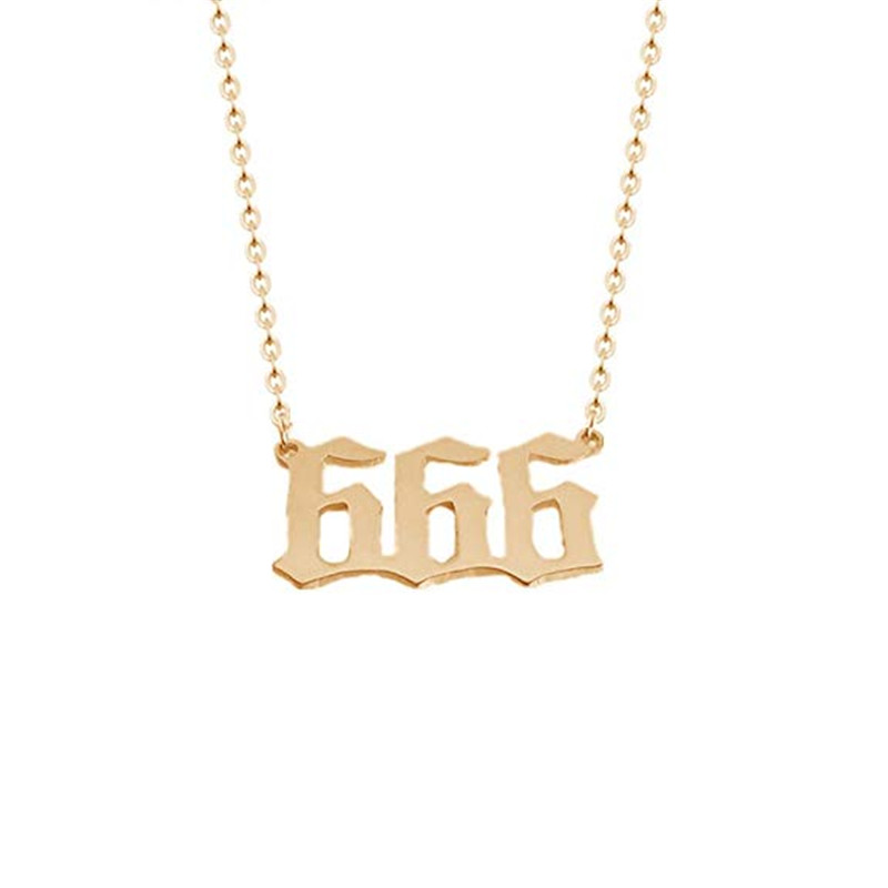 Custom Name Jewelry Statement Personalized 666 English Number Pendant Necklace For Women Gold Color BFF Game Gift Happy New YearCustom Name Jewelry Statement Personalized 666 English Number Pendant Necklace For Women Gold Color BFF Game Gift Happy New Year