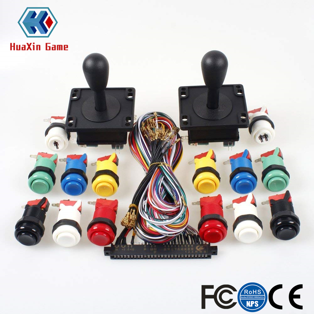 American Style Black Handle + Jamma 56 Pin Interface Cabinet Wire Wiring + Happ Type Push Buttons Switch For Arcade Pandora box