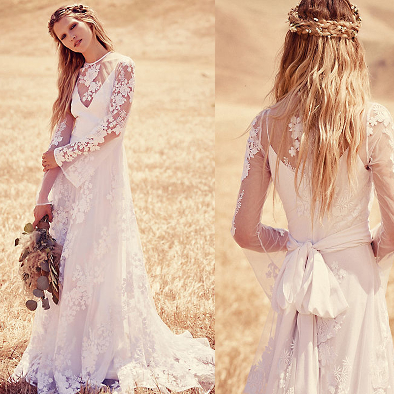 3c8cb88a7f Pretty Long Sleeves Lace Boho Beach Wedding Dresses Sheer Neck Appliques  Elegant Bridal Gown with Sash robe de soiree