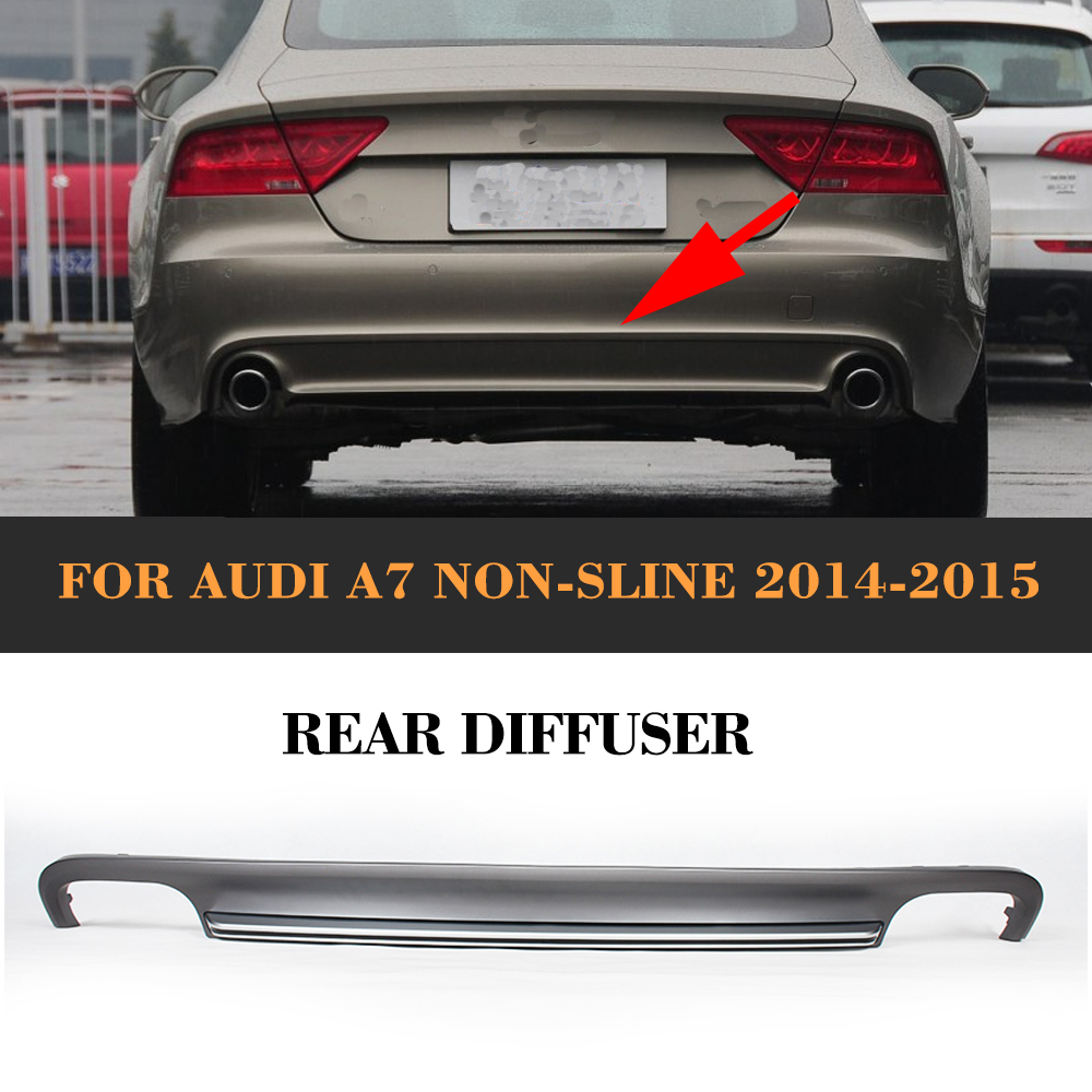 Grey PP car <font><b>rear</b></font> lip <font><b>diffuser</b></font> spoiler with Exhaust for <font><b>Audi</b></font> <font><b>A7</b></font> standard hatchback 4 door 12-15 Non S7 Sline image