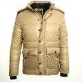 2016 new mens down jacket with hood winter down jacket men Keep warm Khaki then fight black PU leather fashion winter coat men