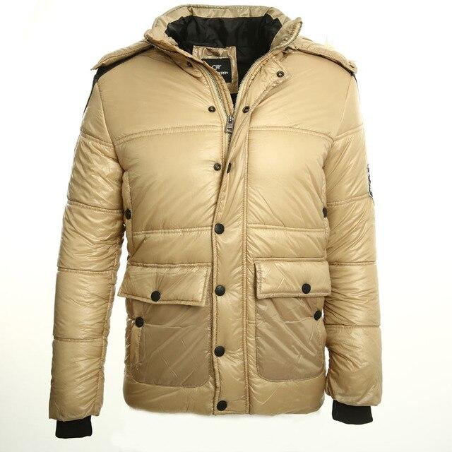 2016 nuevos mens abajo chaqueta con capucha de invierno por los hombres chaqueta mantener el calor entonces lucha negro PU de cuero de moda abrigo de invierno de Color Caqui hombres