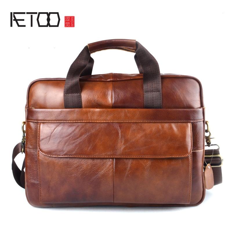 AETOO äkta läder äkta läder bärbar dator väska handväskor - Portföljer