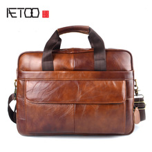 AETOO Genuine Leather tulen beg komputer riba kulit Handbag Cowhide Lelaki Crossbody Bag Lelaki Travel brown leather briefcase