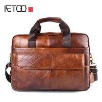 AETOO Genuine Leather Genuine Leather Laptop Bag Handbags Cowhide Men Crossbody Bag Men S Travel Brown