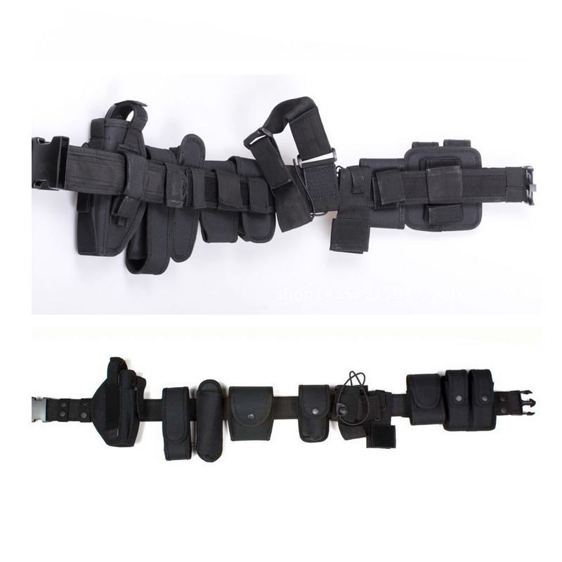 Police Nylon Pistol Belt with 10 duty accessories ( inlcluding handcuff pouch, baton pouch, key pouch etc)