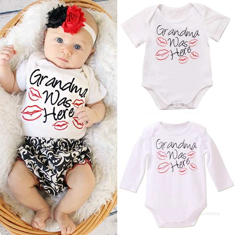 DERMSPE Newborn Baby Boy Girl Short Sleeve Letter Print Grandma Was Here Red Kiss Picture Cotton Romper   Baby Jumpsuit ClothesDERMSPE Newborn Baby Boy Girl Short Sleeve Letter Print Grandma Was Here Red Kiss Picture Cotton Romper   Baby Jumpsuit Clothes