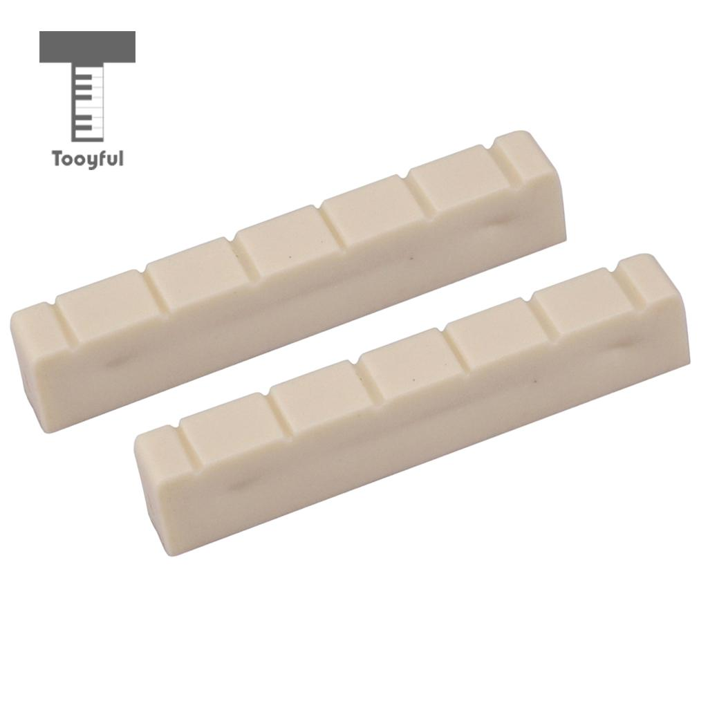 Tooyful 2Pcs Plastic 48mm Classical Classic Guitar Nuts 6 String Bone Slotted Nut Guitar Parts Replacements