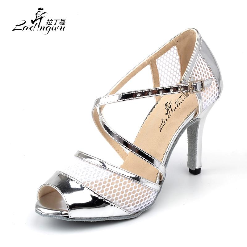 Ladingwu New Summer Breathable Mesh And PU Dance Shoes Ladies Latin Black/Silver Sapato Feminino Salto Alto Ballroom Dance Shoes