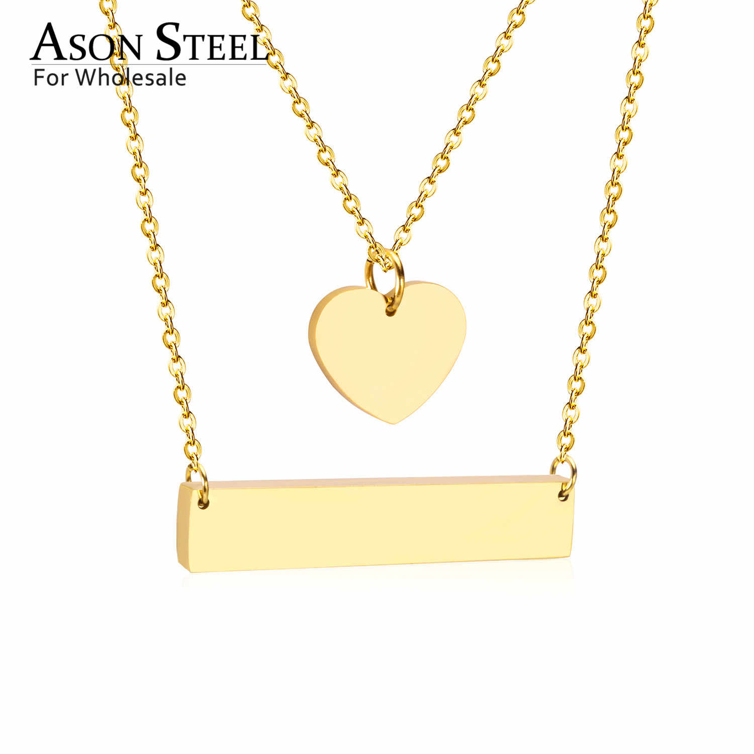 ASONSTEEL Fashion Jewelry Women Statement Long Necklace Heart Pendant Stainless Steel Chain Necklaces Pendants Set