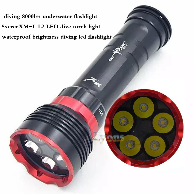 DX5S diving 8000lm underwater flashlight 5x XM-L L2 LED dive torch light waterproof brightness diving led flashlight diving underwater tactical flashlight by 5x cree xm l xml t6 led flashlight black case 5 led dive torch waterproof light lamp