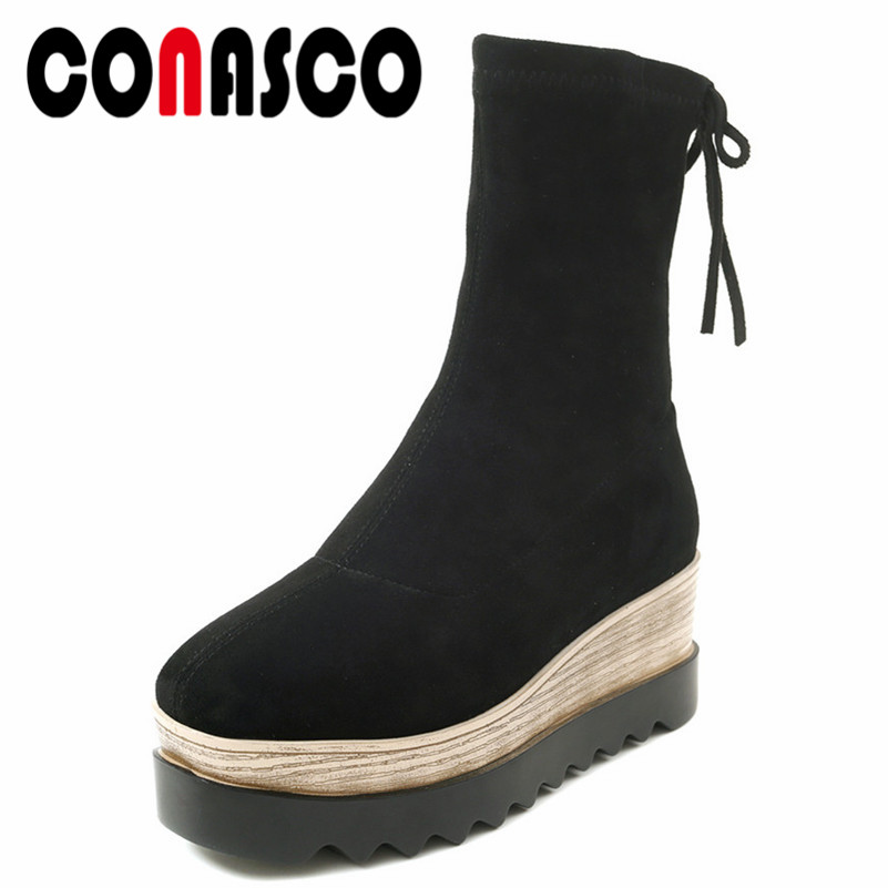 CONASCO Fashion Women Coks Boots Lace Up Party Shoes Woman Wedges Heels Platforms Warm Autumn Winter Shoes Woman Basic BootsCONASCO Fashion Women Coks Boots Lace Up Party Shoes Woman Wedges Heels Platforms Warm Autumn Winter Shoes Woman Basic Boots