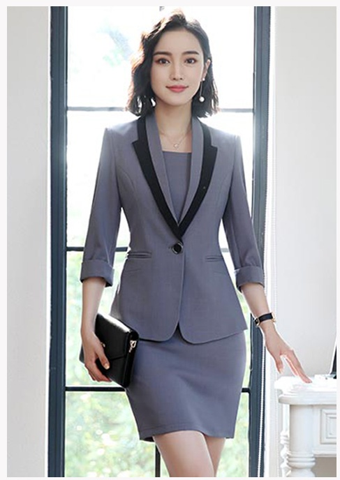 Hot Ladies Dress Suit for Work Full Sleeve Blazer Sleeveless Dress 2 Pieces Set 5