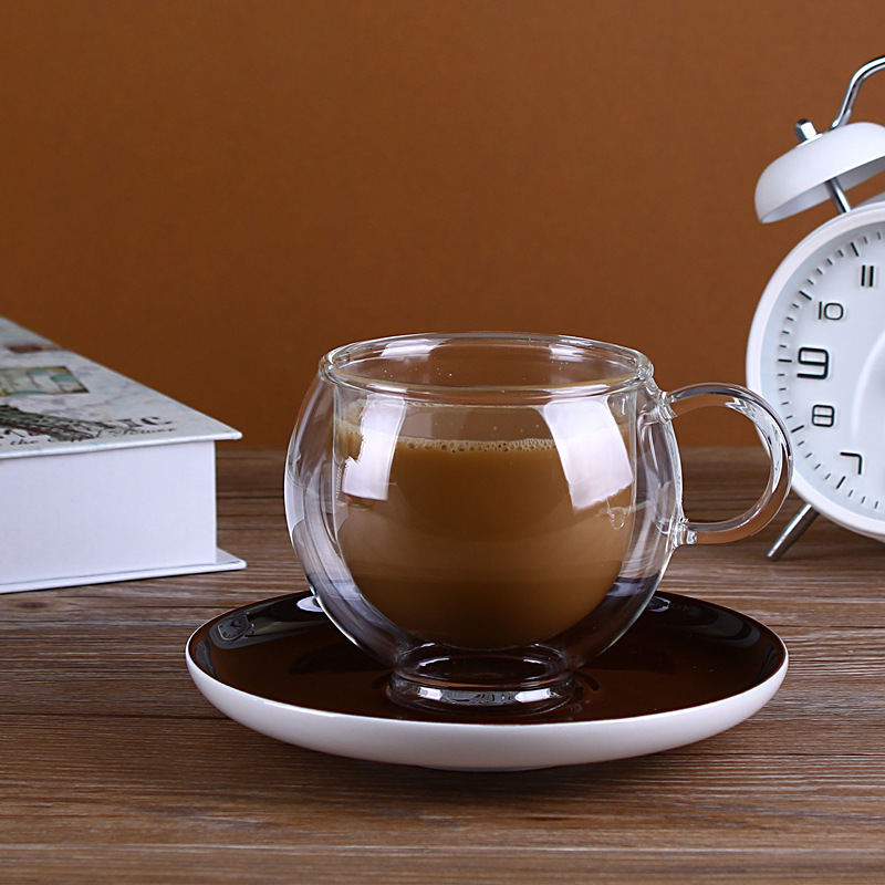 Glass Tea ware Coffee cup with tray   European high-grade double layer glass mug cup cup
