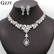 GZJY African Nigerian CZ Wedding Jewelry Clear Cubic Zirconia Crystal Bridal Necklace Earrings Sets For Wedding I04-1