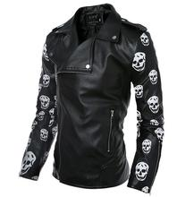 Spring autumn male non-mainstream personality oblique zipper skull leather jacket men slim turn-down collar short coat design