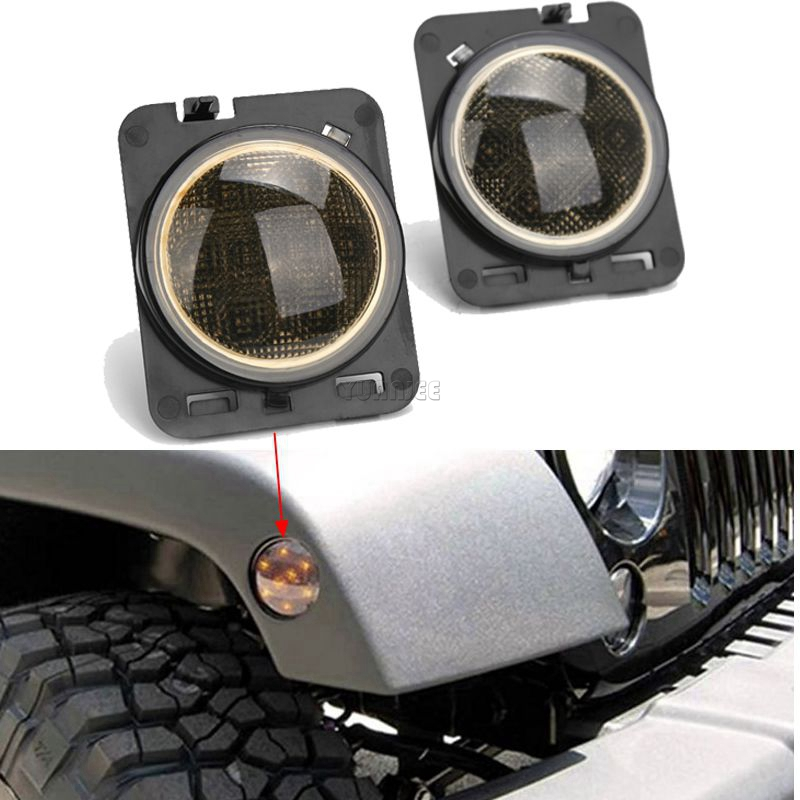 ФОТО 2PCS/Pair 8 SMD LED Light Front Fender Flares Turn Signal Light For Jeep Wrangler JK 2007~2015 LED Side Marker Lamp