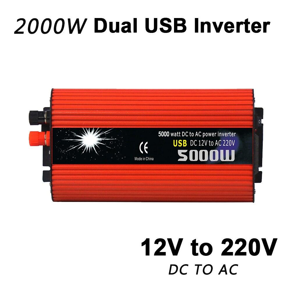 2000W Peak Dual USB Car Inverter DC 12V To AC 220V Portable High Performance Home Converter