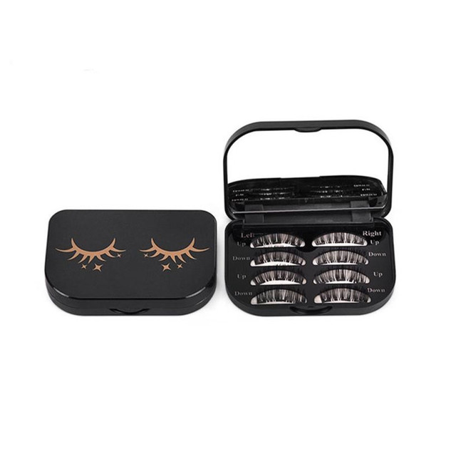 New Rectangle Cute Magnetic False Eyelashes Storage Box 1PC Makeup Cosmetic Mirror Case Organizer Makeup Tool Kit Eyelashes Box
