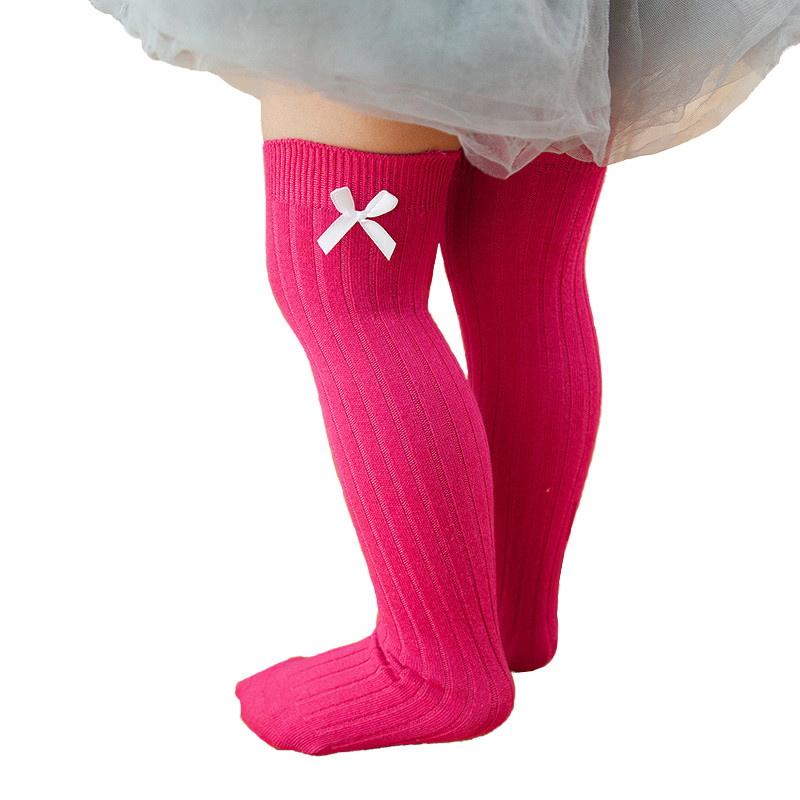 2017 Princess Girls Knee High Socks with Bows Kids Long Socks School Cotton Leg Warmer Vertical Stripe Socks Children Meias Soft