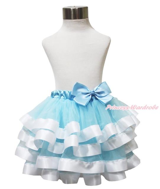Blue White Princess Cinderella Satin Trimmed Tutu Baby Girl Pettiskirt NB-8Year MADRE0047